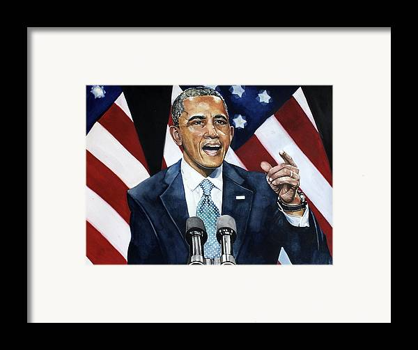 Barack Obama Framed Print featuring the painting Barack Obama by Michael Pattison