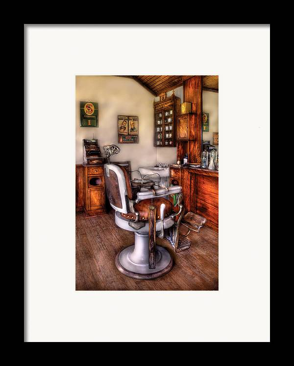 Barber Framed Print featuring the photograph Barber - The Barber Chair by Mike Savad