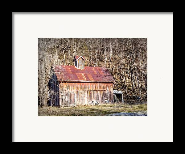 Barn Framed Print featuring the photograph Barn By The Bluffs by Cricket Hackmann