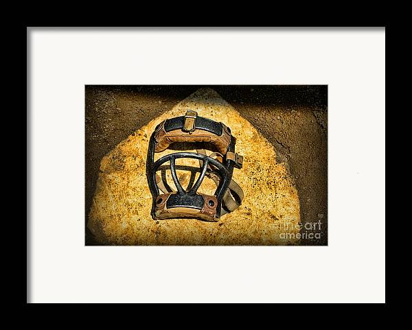 Paul Ward Framed Print featuring the photograph Baseball Catchers Mask Vintage by Paul Ward