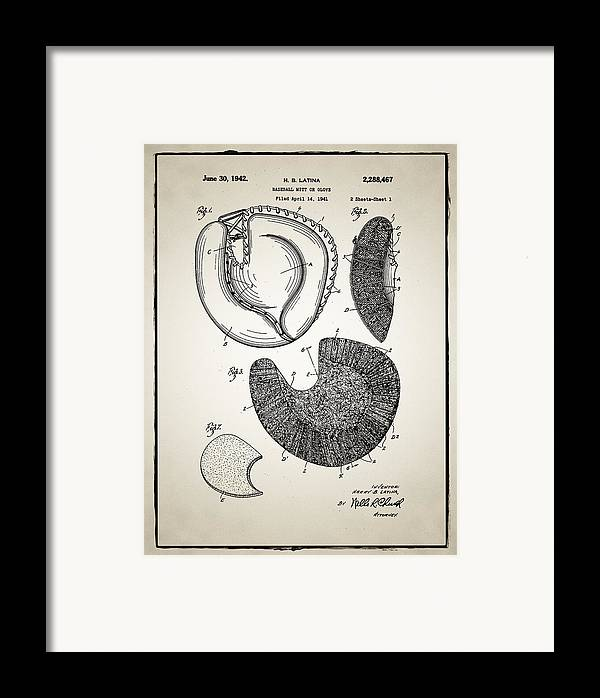 Baseball Framed Print featuring the photograph Baseball Glove Patent by Digital Reproductions