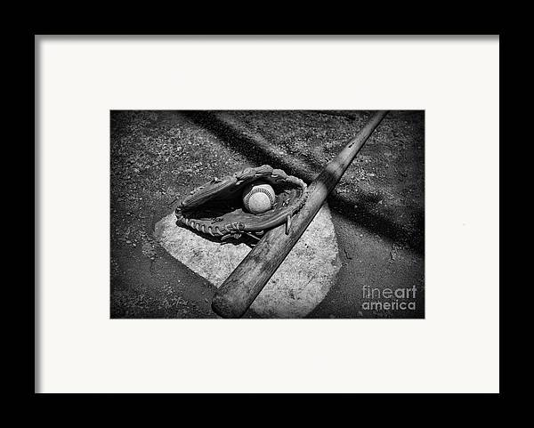 Paul Ward Framed Print featuring the photograph Baseball Home Plate In Black And White by Paul Ward