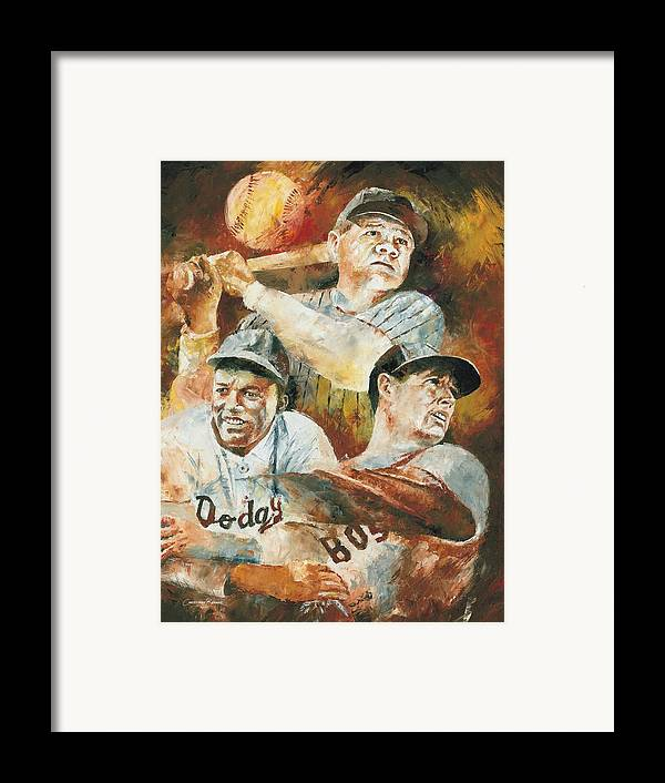 Sports Framed Print featuring the painting Baseball Legends Babe Ruth Jackie Robinson And Ted Williams by Christiaan Bekker