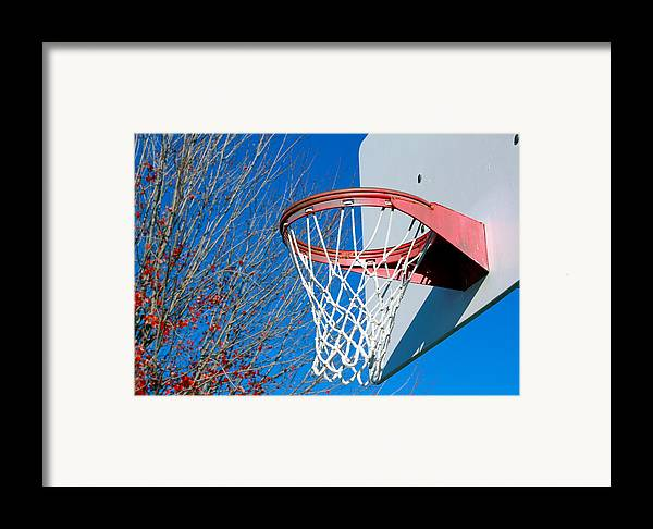 Net Framed Print featuring the photograph Basketball Net by Valentino Visentini