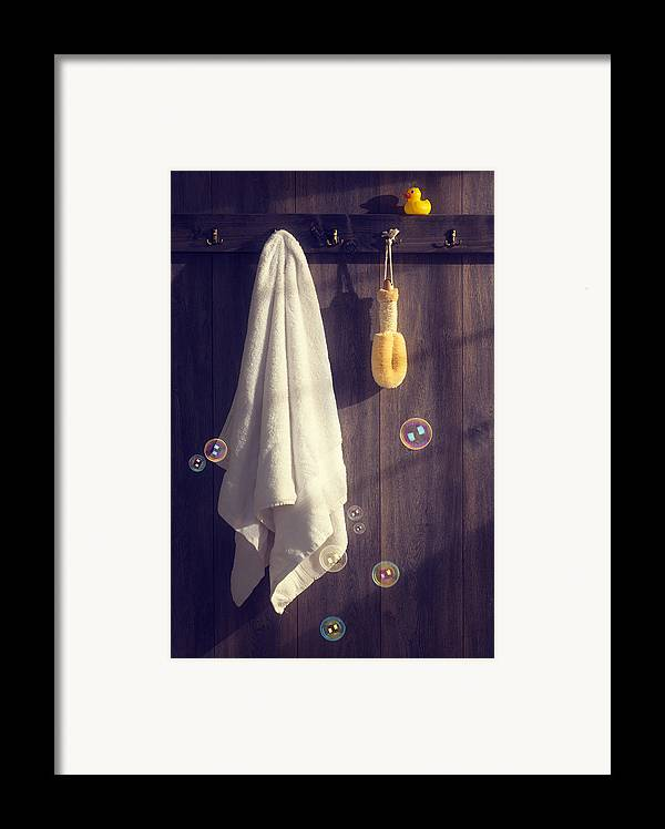 White Framed Print featuring the photograph Bathroom Towel by Amanda And Christopher Elwell