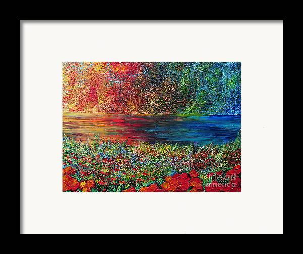 Abstract Framed Print featuring the painting Beautiful Day by Teresa Wegrzyn