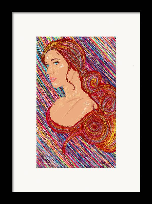 Hair Abstract Art Framed Print featuring the painting Beauty Of Hair Abstract by Kenal Louis