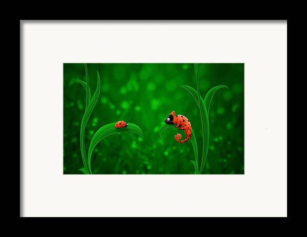 Abstract Framed Print featuring the drawing Beetle Chameleon by Gianfranco Weiss