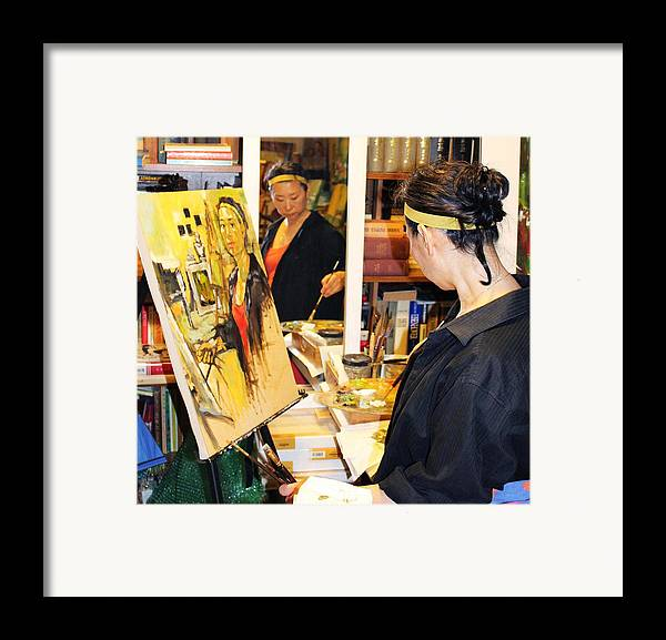 Behind The Scene Framed Print featuring the painting Behind The Scenes - Painting Self Portraits by Becky Kim