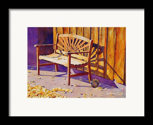 Watercolor Framed Print featuring the painting Bench At Sharlot Hall by Robert Hooper