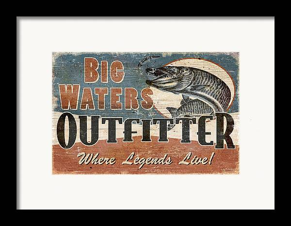 Jon Q Wright Framed Print featuring the painting Big Waters Outfitters by JQ Licensing