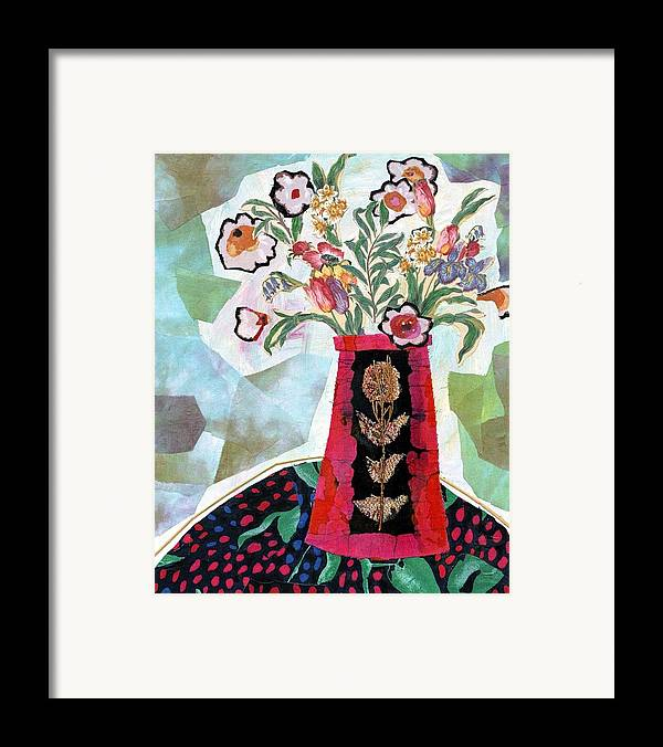 Flowers In A Vase Framed Print featuring the mixed media Bird Blossom Vase by Diane Fine
