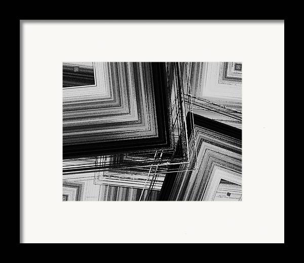 Black And White Framed Print featuring the digital art Black And White Geometric Art by Mario Perez