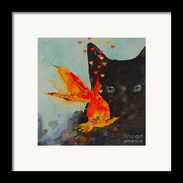 Black Cat Framed Print featuring the painting Black Cat And The Goldfish by Paul Lovering