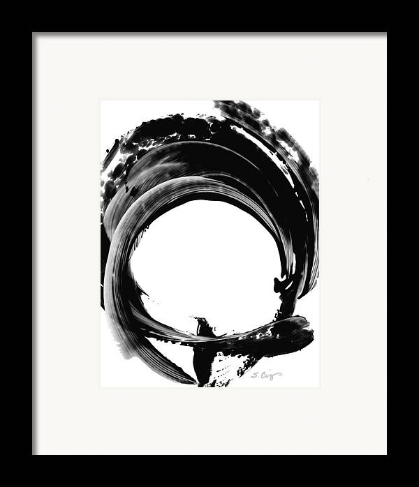 Abstract Framed Print featuring the painting Black Magic 304 By Sharon Cummings by Sharon Cummings