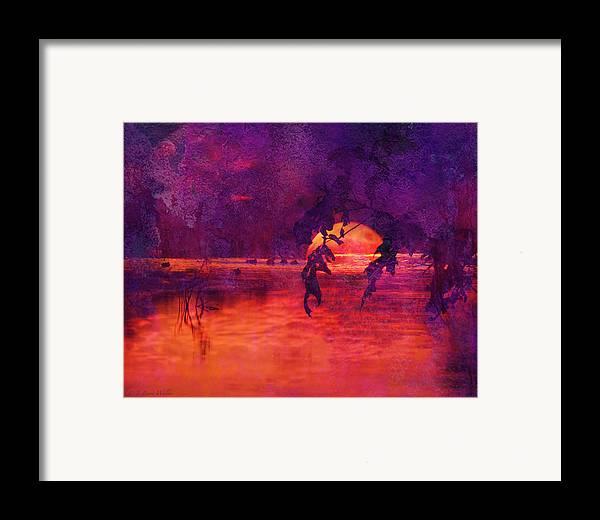 J Larry Walker Framed Print featuring the digital art Bleeding Sunrise Abstract by J Larry Walker