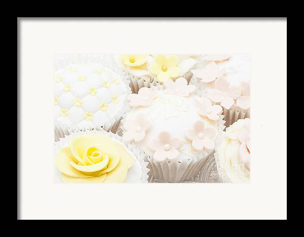 Cupcake Framed Print featuring the photograph Blossoms And Bows Cupcake by Anne Gilbert