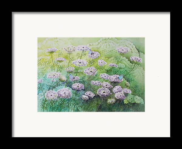 Butterflies Framed Print featuring the painting Blue Butterflies by Patsy Sharpe