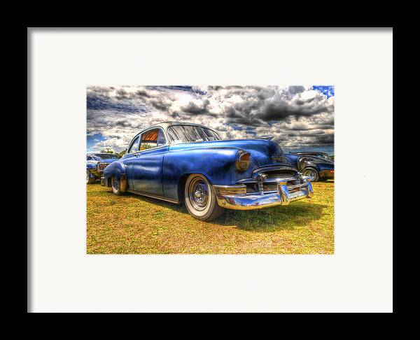 Fifties Automobile Framed Print featuring the photograph Blue Chevy Deluxe - Hdr by Phil 'motography' Clark