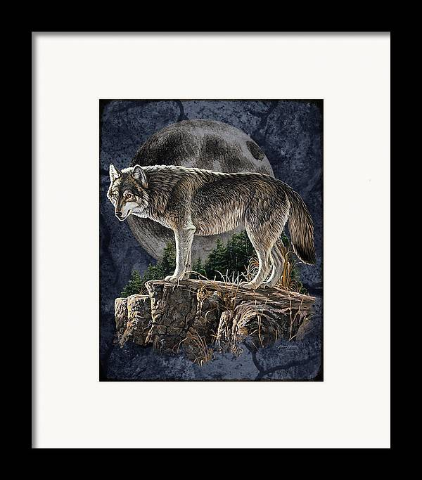Bruce Miller Framed Print featuring the painting Bm Wolf Moon by JQ Licensing