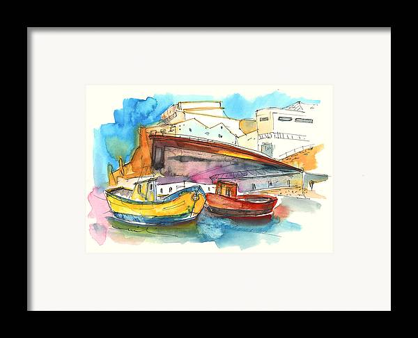 Portugal Art Framed Print featuring the painting Boats In Ericeira In Portugal by Miki De Goodaboom