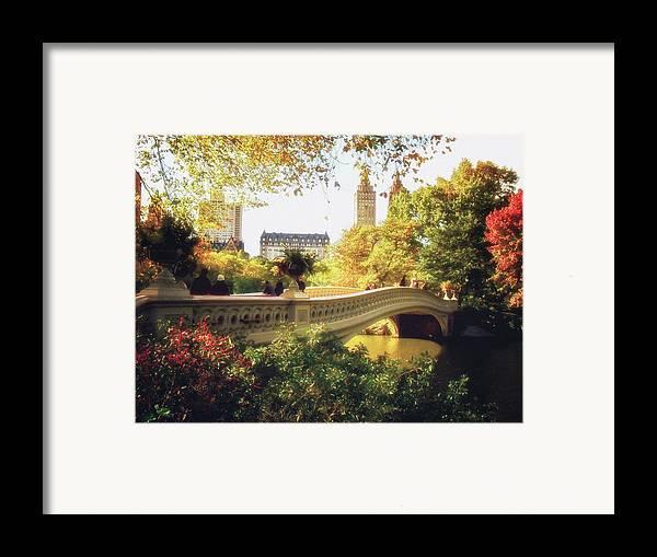Bow Bridge Framed Print featuring the photograph Bow Bridge - Autumn - Central Park by Vivienne Gucwa