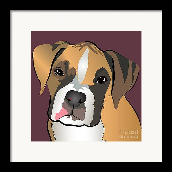 Dogs Framed Print featuring the painting Boxer Puppy Pet Portrait by Robyn Saunders