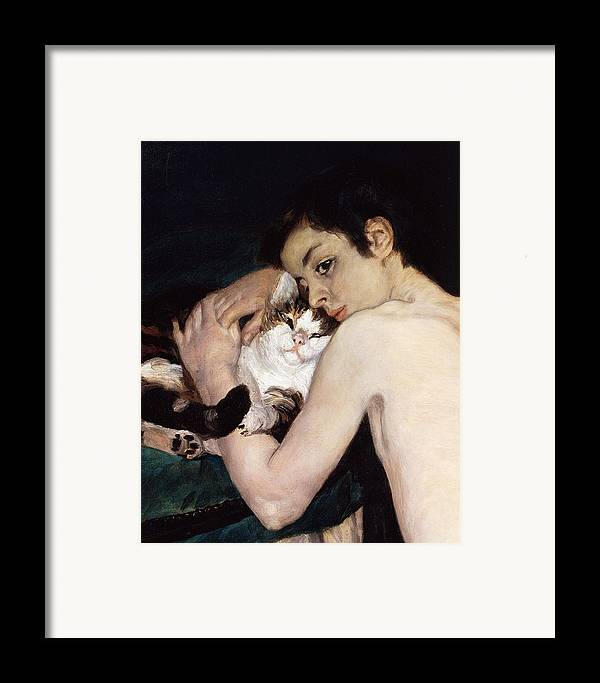 Art Framed Print featuring the painting Boy With A Cat by Pierre-Auguste Renoir