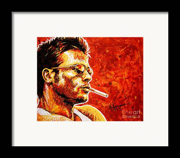 Portrait Framed Print featuring the painting Brad by Maria Arango