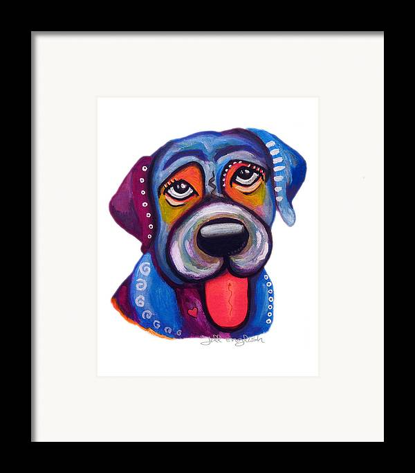 Dogs Framed Print featuring the painting Brad The Labrador by Jill English