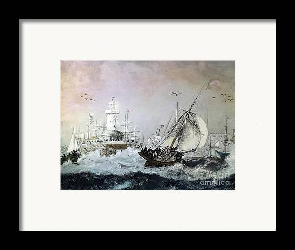 Seascapes Framed Print featuring the digital art Braving The Storm by Lianne Schneider