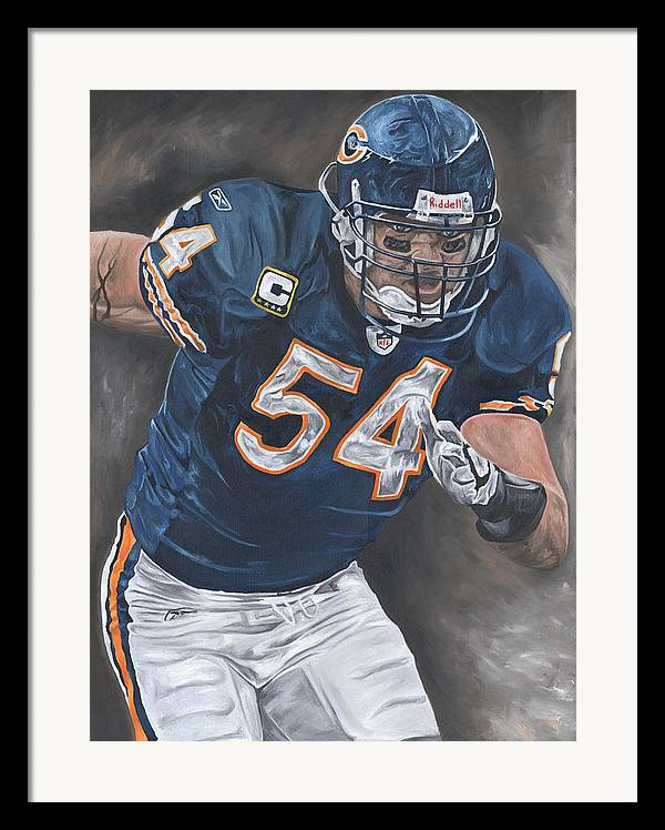 Brian Urlacher Chicago Bears Nfl Football Sports Painting Tackle Linebacker Defense David Courson Art Framed Print featuring the painting Brian Urlacher Seek And Destroy by David Courson