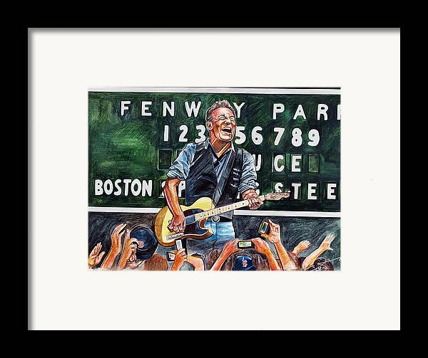 Bruce Springsteen Framed Print featuring the drawing Bruce Springsteen At Fenway Park by Dave Olsen
