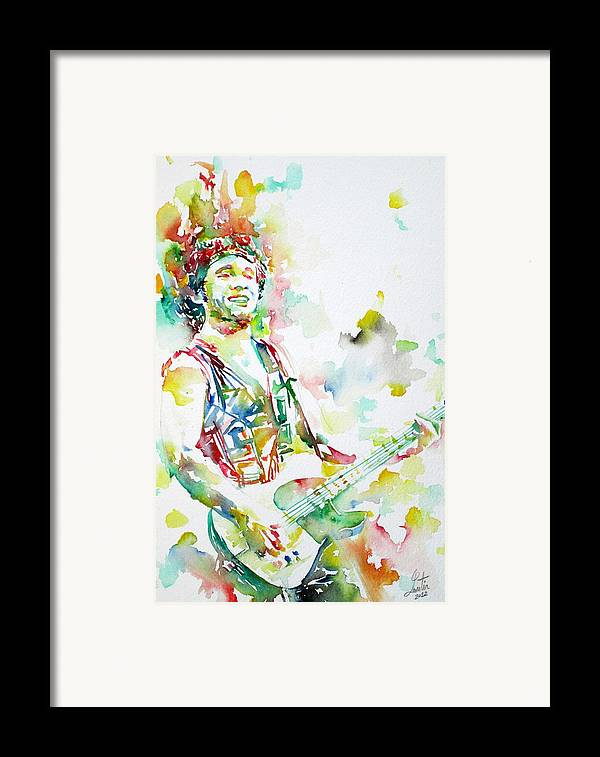 Bruce Framed Print featuring the painting Bruce Springsteen Playing The Guitar Watercolor Portrait.2 by Fabrizio Cassetta