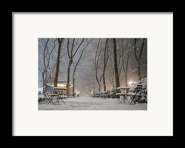 Nyc Framed Print featuring the photograph Bryant Park - Winter Snow Wonderland - by Vivienne Gucwa