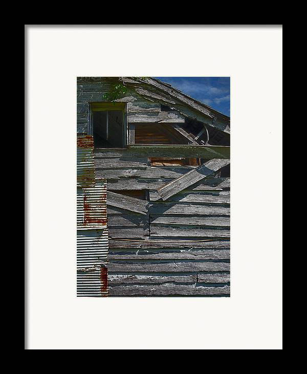 There Are Many Layers Of Material On This Old House. Framed Print featuring the photograph Building Materials by Murray Bloom