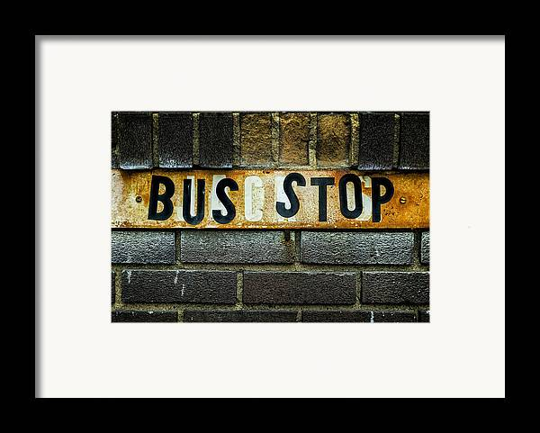 Jeff Framed Print featuring the photograph Bus Stop by Jeff Burton