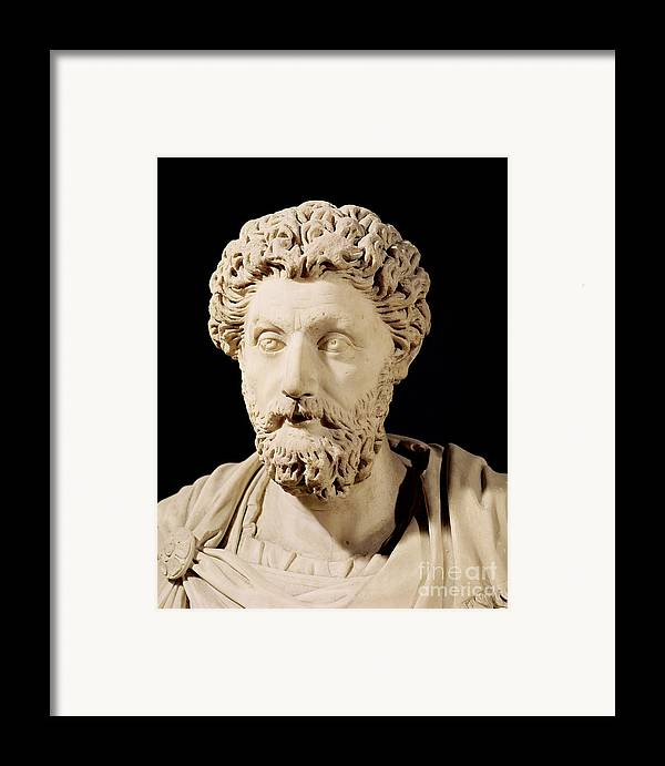 Roman Emperor Framed Print featuring the sculpture Bust Of Marcus Aurelius by Anonymous