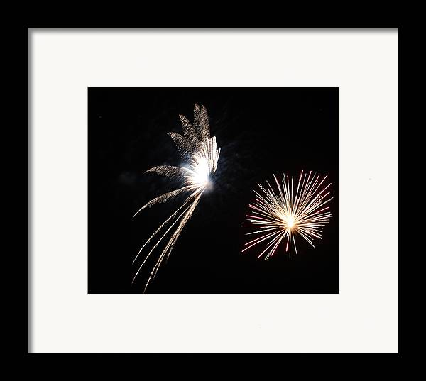 Night Framed Print featuring the photograph Butterfly And Flower Fireworks by Howard Tenke