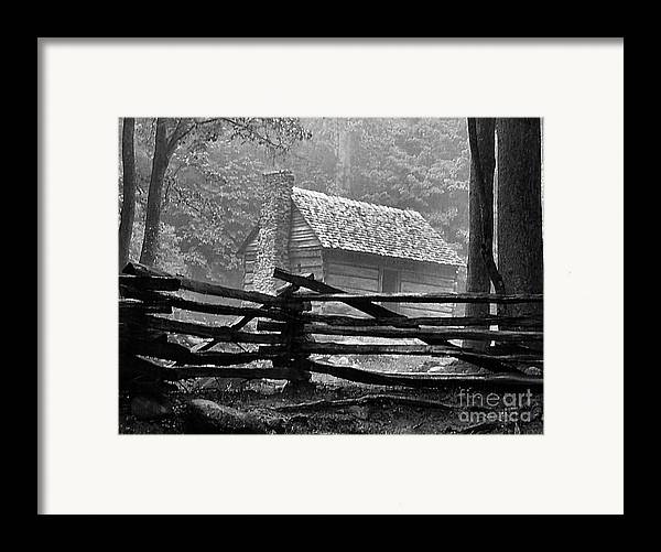 Log Cabins Framed Print featuring the photograph Cabin In The Fog by Julie Dant