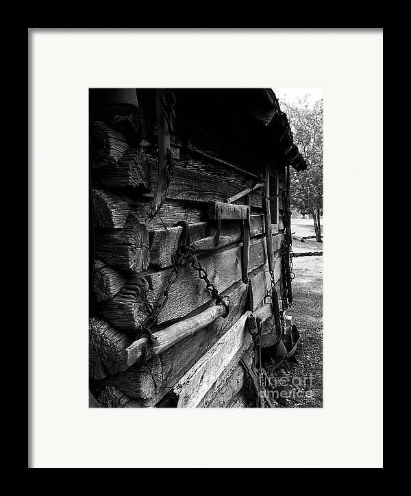Log Cabins Framed Print featuring the photograph Cabin Wall II by Julie Dant