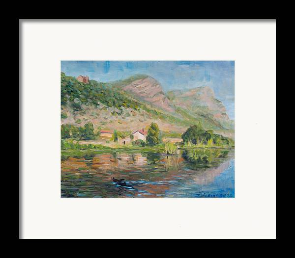 Water Reflection Landscape Italy Pond Dunk Impression Sun Sunny Framed Print featuring the painting Capodifiume by Marco Busoni