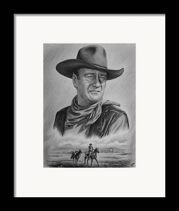 John Wayne Framed Print featuring the drawing Captured Bw Version by Andrew Read