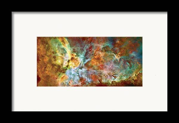 Universe Framed Print featuring the photograph Carina Nebula - Interpretation 1 by The Vault - Jennifer Rondinelli Reilly