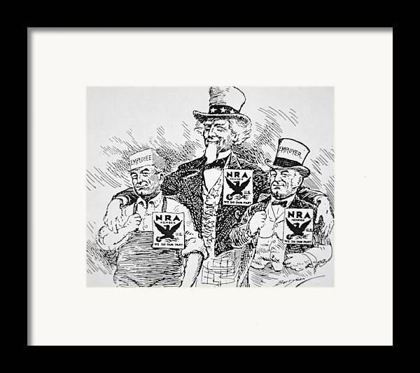 Male Framed Print featuring the drawing Cartoon Depicting The Impact Of Franklin D Roosevelt by American School