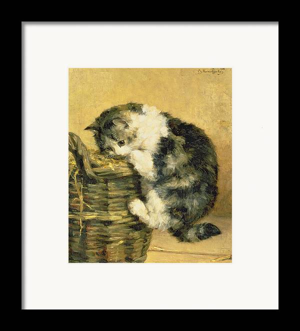 Cat Framed Print featuring the painting Cat With A Basket by Charles Van Den Eycken