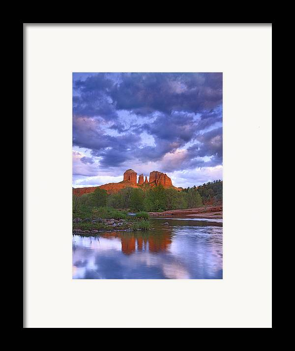 Feb0514 Framed Print featuring the photograph Cathedral Rock And Oak Creek At Red by Tim Fitzharris
