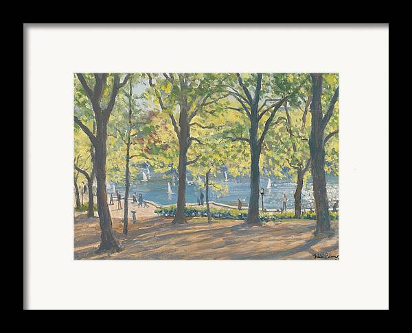 Trees; Nyc; Ny; Manhattan; Pond; America Framed Print featuring the painting Central Park New York by Julian Barrow