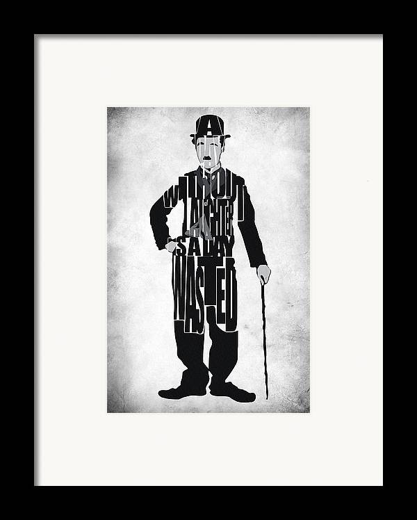 Charlie Chaplin Framed Print featuring the painting Charlie Chaplin Typography Poster by Ayse Deniz