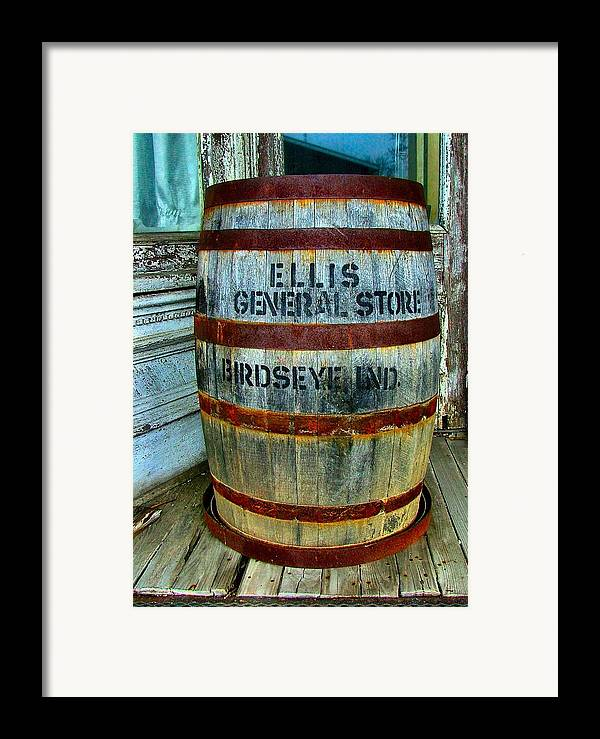 Old Barrels Framed Print featuring the photograph Cheap Advertisement by Julie Dant